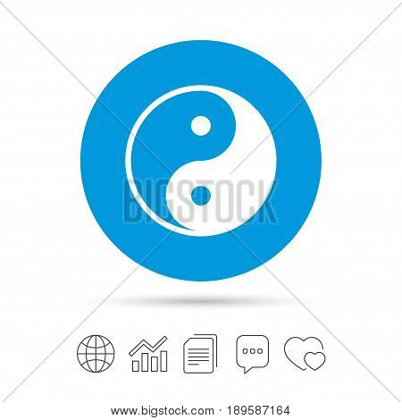 Ying yang sign icon. Harmony and balance symbol. Copy files, chat speech bubble and chart web icons. Vector