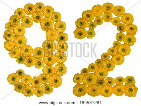 Arabic Numeral 92, Ninety Two, From Yellow Flowers Of Buttercup, Isolated On White Background
