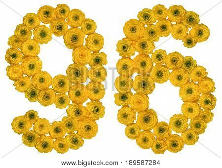 Arabic Numeral 96, Ninety Six, From Yellow Flowers Of Buttercup, Isolated On White Background