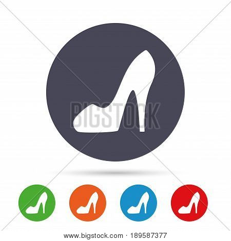 Women sign. Women's shoe icon. High heels shoe symbol. Round colourful buttons with flat icons. Vector