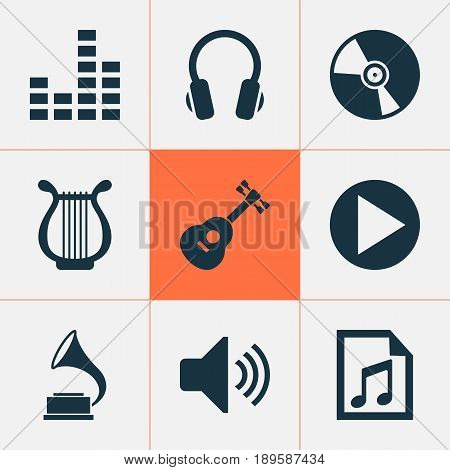 Music Icons Set. Collection Of Cd, Equalizer, Earphone And Other Elements. Also Includes Symbols Such As Mixer, Playlist, Earphone.