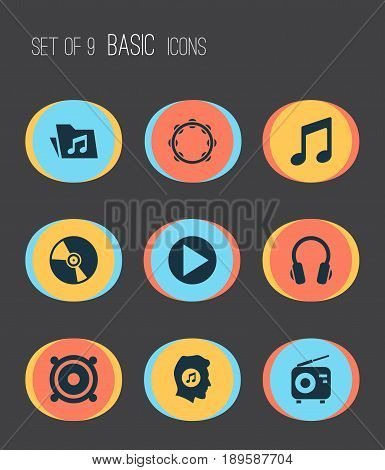 Audio Icons Set. Collection Of Cd, Earphone, Timbrel And Other Elements. Also Includes Symbols Such As Tambourine, Earmuff, Music.