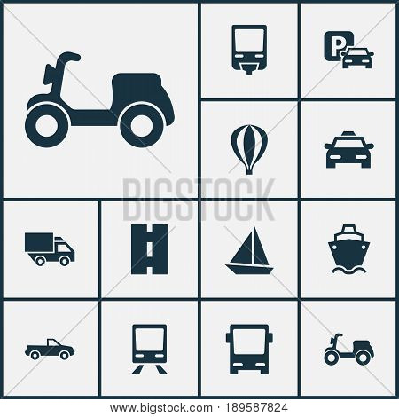 Shipment Icons Set. Collection Of Van, Cabriolet, Railway And Other Elements. Also Includes Symbols Such As Cab, Airship, Auto.