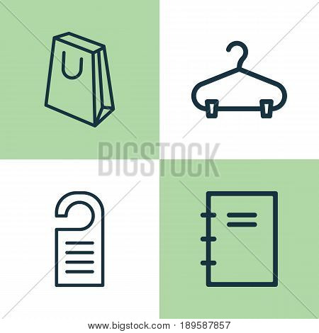 E-Commerce Icons Set. Collection Of Handbag, Peg, Spiral Notebook Elements. Also Includes Symbols Such As Paper, Hanger, Packet.