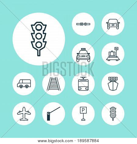 Vehicle Icons Set. Collection Of Roadblock, Railroad, Streetcar And Other Elements. Also Includes Symbols Such As Parking, Railroad, Lorry.