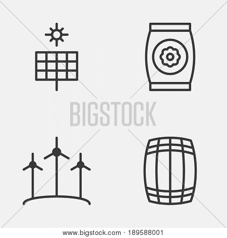 Garden Icons Set. Collection Of Fertilizer, Windmill, Cask And Other Elements. Also Includes Symbols Such As Barrel, Wind, Cask.