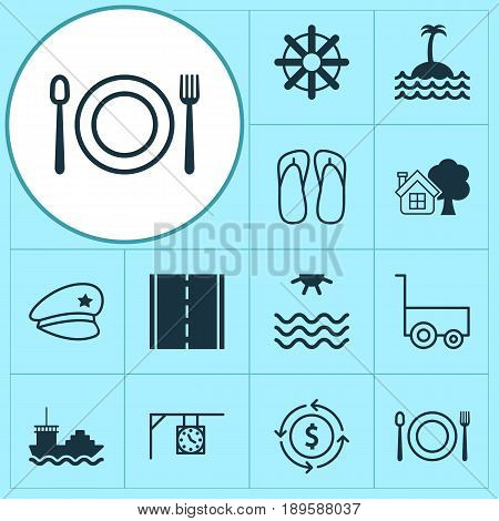 Travel Icons Set. Collection Of Steering Wheel, Ranch Home, Reef And Other Elements. Also Includes Symbols Such As Shipping, Cop, Tree.