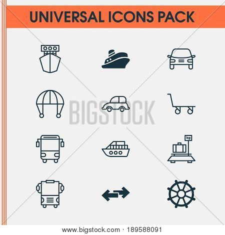 Transportation Icons Set. Collection Of Travel Boat, Auto Car, Ship And Other Elements. Also Includes Symbols Such As Marine, Yacht, Baggage.