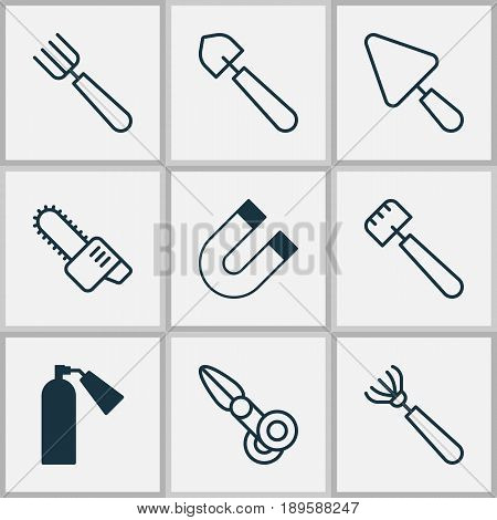 Instrument Icons Set. Collection Of Attraction, Garden Fork, Spatula And Other Elements. Also Includes Symbols Such As Fire, Putty, Cutting.