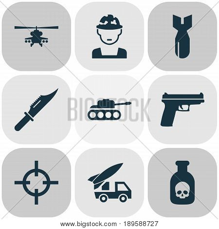 Warfare Icons Set. Collection Of Chopper, Panzer, Cutter And Other Elements. Also Includes Symbols Such As Mechanism, Poison, Dynamite.