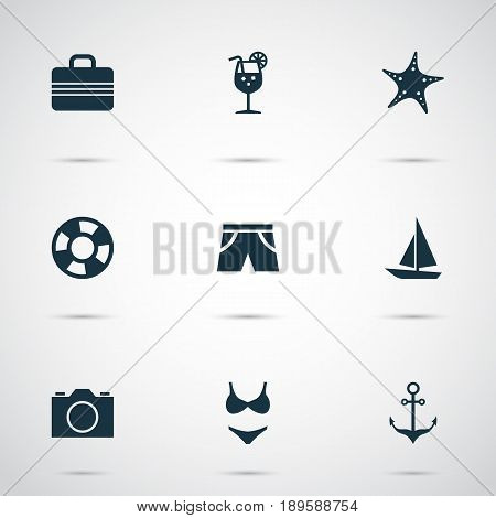 Icons Set. Collection Of Baggage, Lemonade, Sea Star And Other Elements. Also Includes Symbols Such As Video, Lifesaver, Lifebuoy.