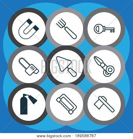 Apparatus Icons Set. Collection Of Carpentry, Garden Fork, Clippers And Other Elements. Also Includes Symbols Such As Putty, Access, Fire.