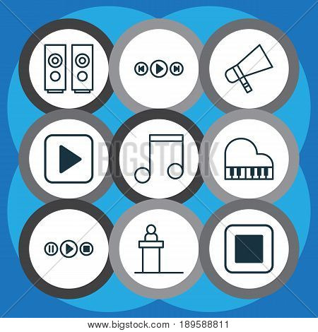 Audio Icons Set. Collection Of Bullhorn, Start Song, Rostrum And Other Elements. Also Includes Symbols Such As Bullhorn, Hailer, Scene.