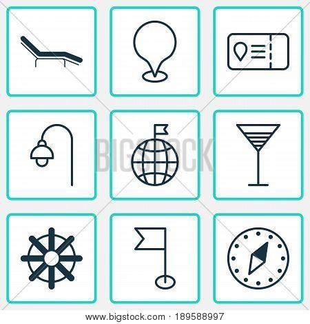 Travel Icons Set. Collection Of Chaise Longue, Trip Access, Steering Wheel And Other Elements. Also Includes Symbols Such As Beach, Access, Visited.