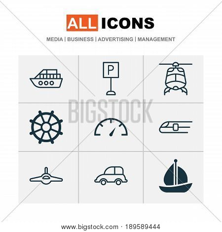 Shipping Icons Set. Collection Of Chopper, Speed Checker, Metro And Other Elements. Also Includes Symbols Such As Speedometer, Plane, Airplane.