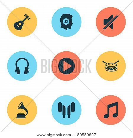 Audio Icons Set. Collection Of Barrel, Music, Phonograph And Other Elements. Also Includes Symbols Such As Antique, Drum, Mute.