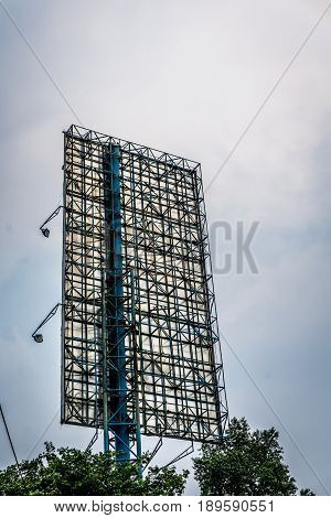 A view from behind of a billboard with huge pole photo taken in Jakarta Indonesia java