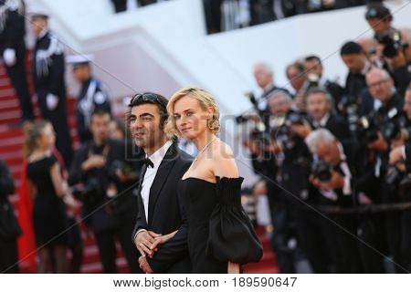 Diane Kruger  and director Fatih Akin attend the Closing Ceremony of the 70th annual Cannes Film Festival at Palais des Festivals on May 28, 2017 in Cannes, France.