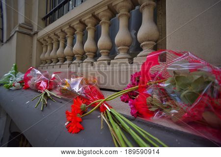 Buenos Aires Argentina - 2 Nov 2015: Wreaths seen outside the Russian embassy in memory of Airbus A321 air crash victims.