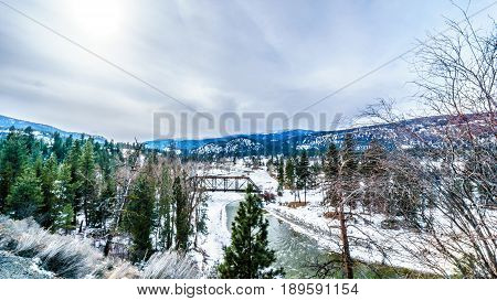 View of the Nicola River on a cold winter day from Highway 8 between Spences Bridge and Merritt in central British Columbia