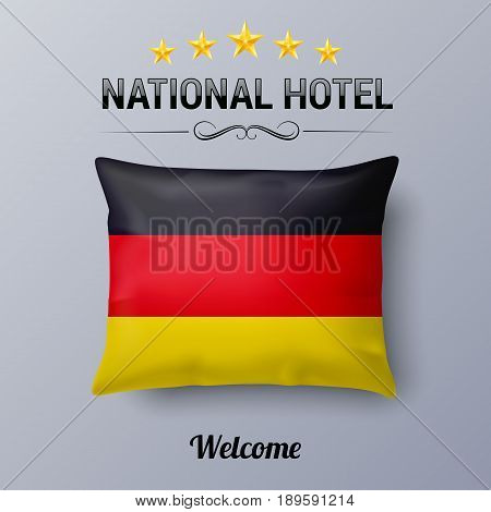 Realistic Pillow and Flag of Germany as Symbol National Hotel. Flag Pillow Cover with German flag