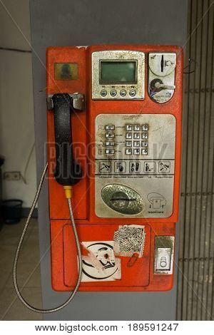 unused Telephone box hang on the wall photo taken in Jakarta Indonesia java