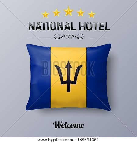 Realistic Pillow and Flag of Barbados as Symbol National Hotel. Flag Pillow Cover with Barbadian flag