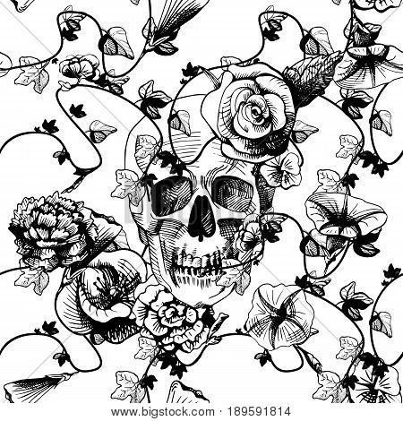Vector illustration of a skull surrounded and covered with plants and flowers on white background. Black and white engraving style good for silk screen printing.