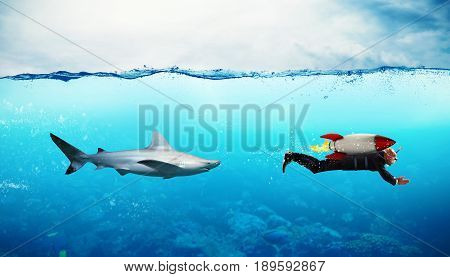 Concept of competition with businessman who escapes from sharks with rocket