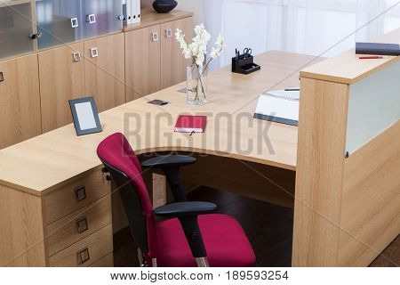 new wooden desk in modern office