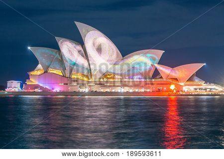 SYDNEY, AUSTRALIA - MAY 29 2015: Vivid Sydney lights and sound festival in Sydney.