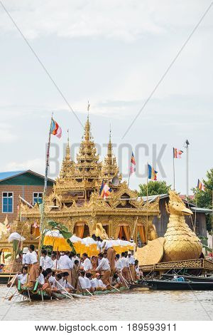 INLE-LAKE, MYANMAR - OCT 06 2014: The festival of Phaung Daw Oo Pagoda at Inle Lake is once a year are ceremonially rowed around the Lake.