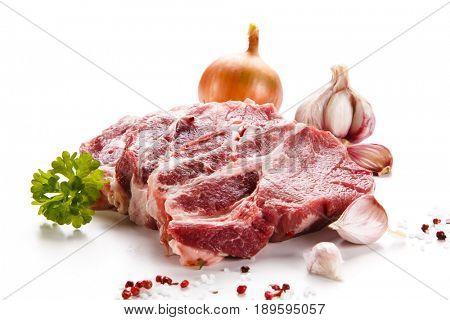 Fresh raw pork isolated on white background