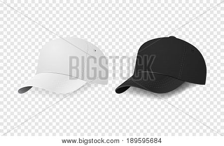 White and black baseball cap icon set. Design template closeup in EPS10 vector. Mock-up for branding and advertise isolated on transparent background.