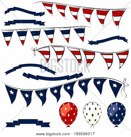 4th of July decorations vector elements. Independence Day pennant banner balloons and ribbons set