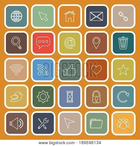 Website flat icons on orange background, stock vector