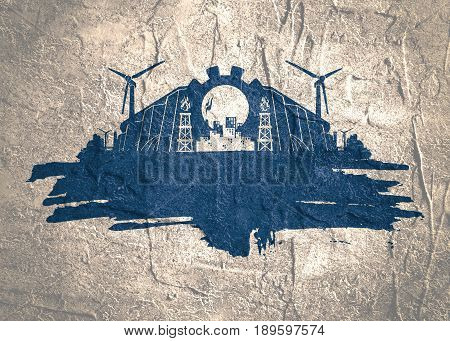 Energy and Power icons set and grunge brush stroke. Energy generation and heavy industry relative image. Grunge concrete texture