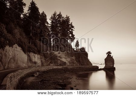 Siwash Rock in Stanley Park at sunrise in Vancouver