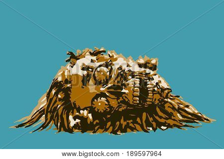 Apocalyptic skull lies in a pile of pus. Vector illustration. Blue background.