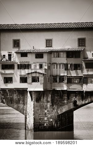 Ponte Vecchio over Arno River in Florence Italy BW.