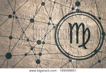 Zodiac symbol in circle. Concrete grunge texture. Molecule And Communication Background. Connected lines with dots. Modern brochure, report or cover design template. Sign of the Maiden.