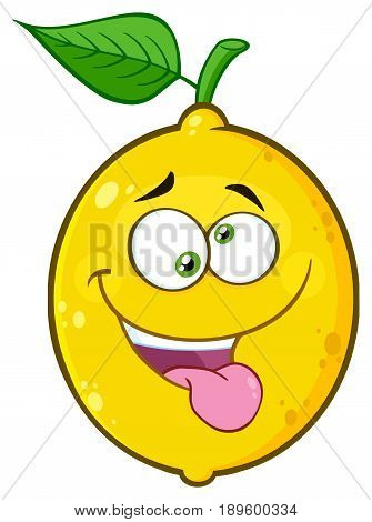 Mad Yellow Lemon Fruit Cartoon Emoji Face Character With Crazy Expression And Protruding Tongue. Illustration Isolated On White Background