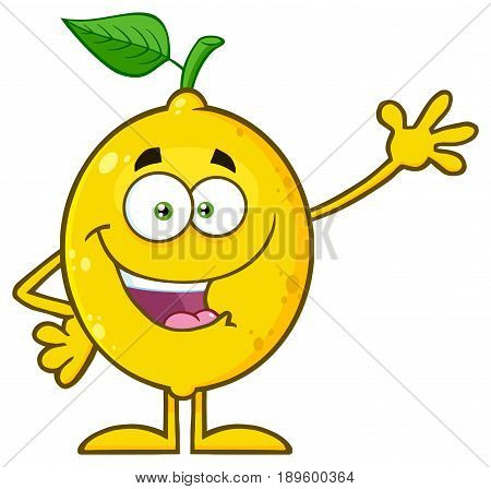 Yellow Lemon Fresh Fruit With Green Leaf Cartoon Mascot Character Waving . Illustration Isolated On White Background