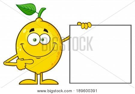 Smiling Yellow Lemon Fresh Fruit With Green Leaf Cartoon Mascot Character Pointing To A Blank Sign. Illustration Isolated On White Background