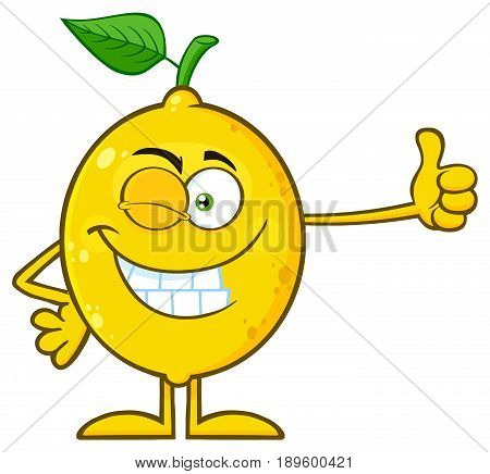 Winking Yellow Lemon Fresh Fruit With Green Leaf Cartoon Mascot Character Giving A Thumb Up