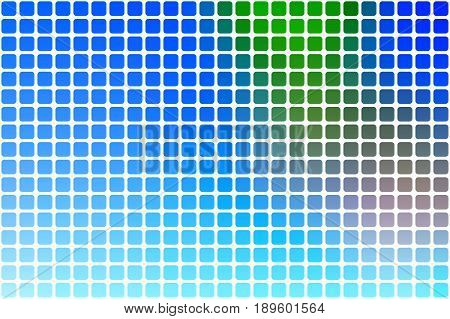 Blue green red vector abstract mosaic background with rounded corners square tiles over white