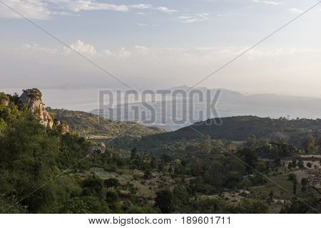 View From Road To Dorze Village Towards Lake Abaya. Hayzo Village. Ethiopia