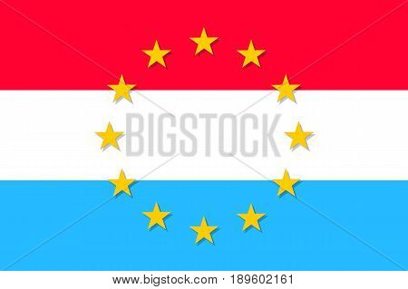 Luxembourg national flag with a circle of European Union twelve gold stars, political and economic union, EU member since 1 January 1958. Vector flat style illustration
