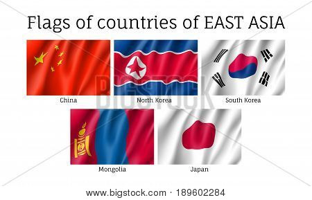 Set of waving flags of East Asian countries: China, South and North Korea, Japan and Mongolia. Collection with 5 signs of Asian states. Vector isolated icons