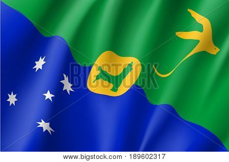 Waving flag of Christmas Island. Patriotic sign with white-tailed tropicbird and Southern Cross constellation. Special Administrative External Territory of Australia. Vector icon illustration